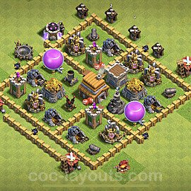 TH5 Trophy Base Plan with Link, Copy Town Hall 5 Base Design 2020, #64