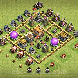 TH5 Anti 2 Stars Base Plan with Link, Copy Town Hall 5 Base Design 2020, #65