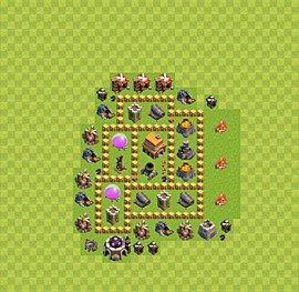 Base plan Town Hall level 5 for trophies (defence) (variant 7)