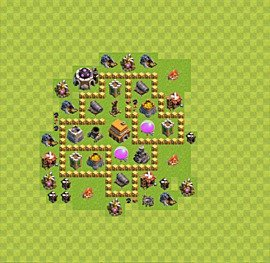Base plan Town Hall level 5 for trophies (defence) (variant 8)