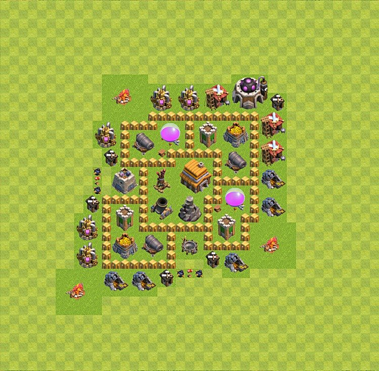 Base plan (layout) for trophies collecting TH  5 (Town Hall level 5, TH 5), variant 13