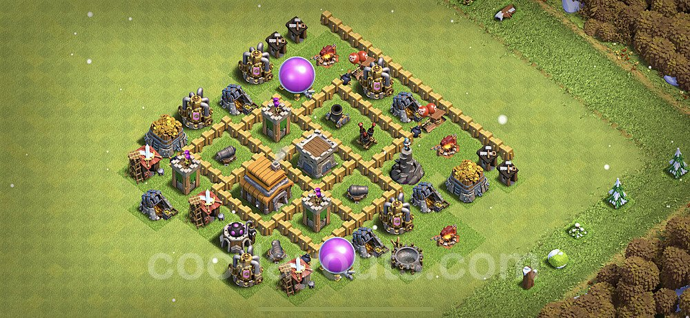 TH5 Trophy Base Plan with Link, Copy Town Hall 5 Base Design 2021, #137