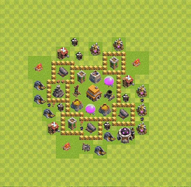Base plan (layout) for trophies collecting TH  5 (Town Hall level 5, TH 5), variant 15