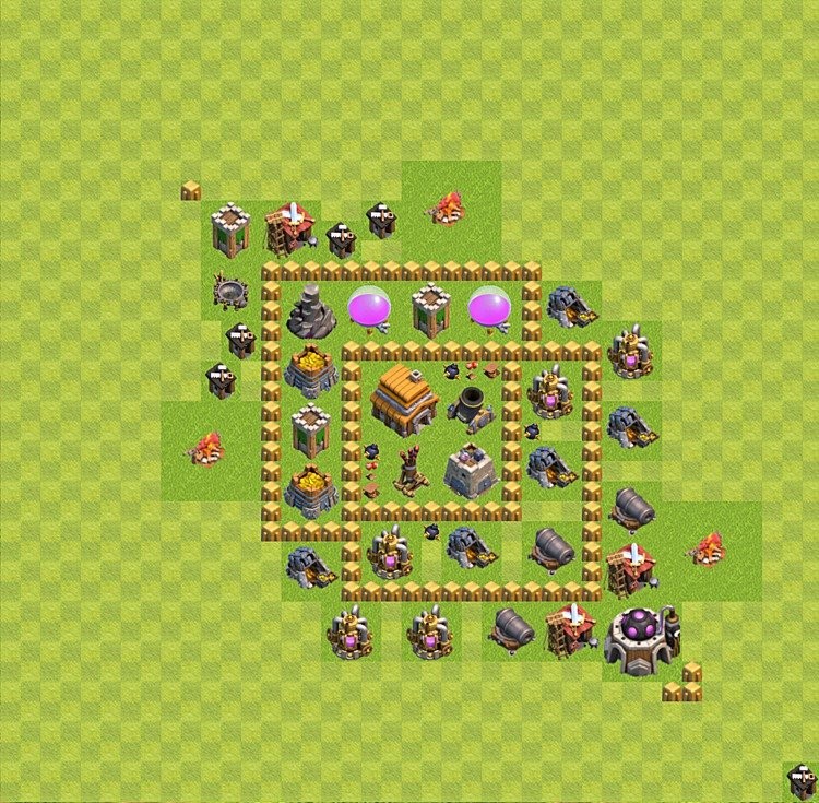 Base plan (layout) for trophies collecting TH  5 (Town Hall level 5, TH 5), variant 2