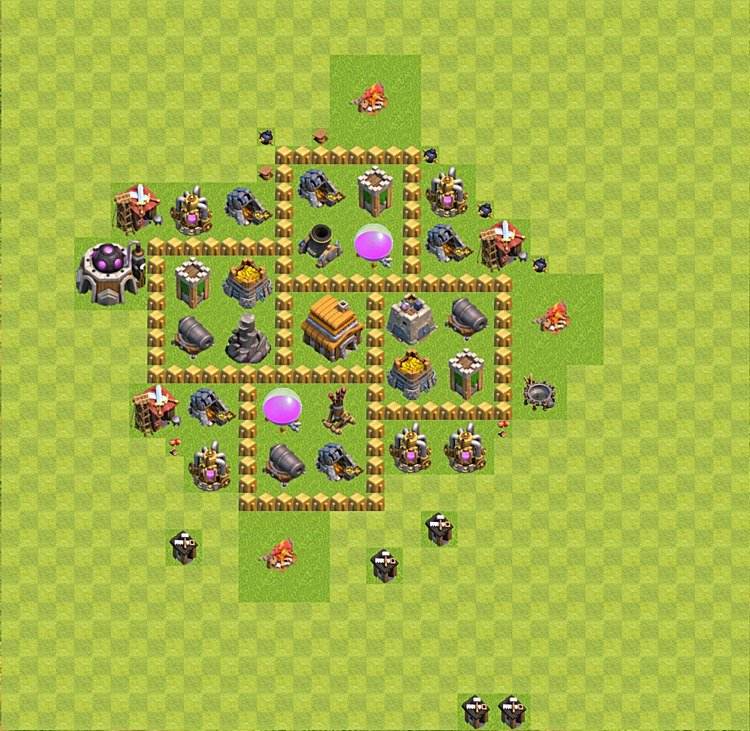 Base plan (layout) for trophies collecting TH  5 (Town Hall level 5, TH 5), variant 24