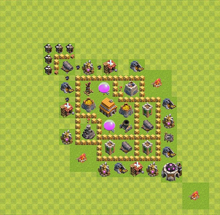 Base plan (layout) for trophies collecting TH  5 (Town Hall level 5, TH 5), variant 27