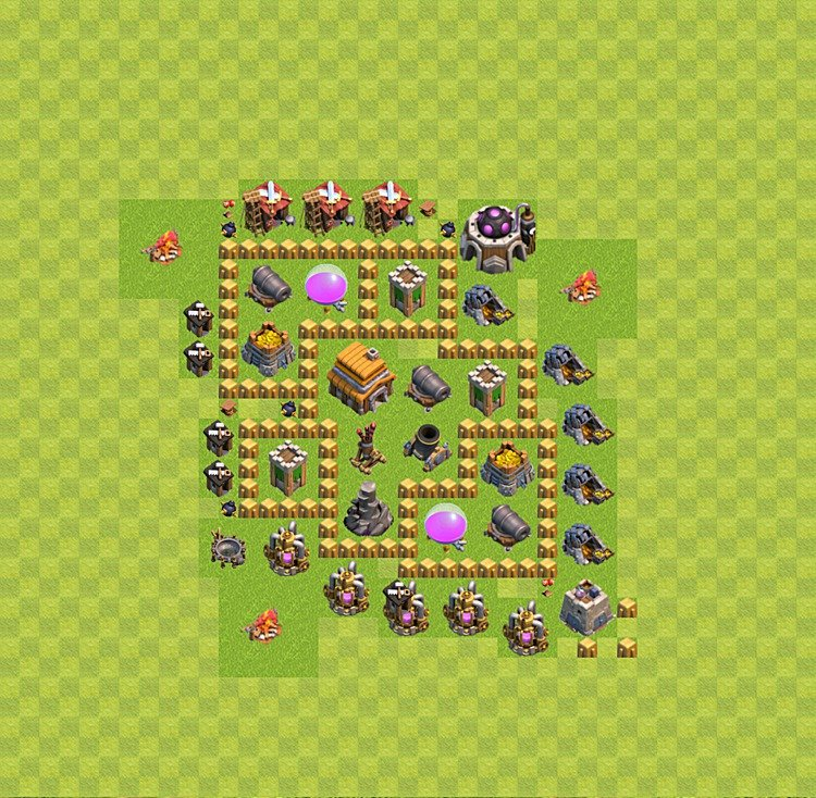 Base plan (layout) for trophies collecting TH  5 (Town Hall level 5, TH 5), variant 28