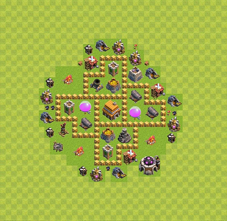 Base plan (layout) for trophies collecting TH  5 (Town Hall level 5, TH 5), variant 29