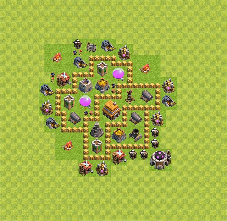 Base plan (layout) for trophies collecting TH  5 (Town Hall level 5, TH 5), variant 30