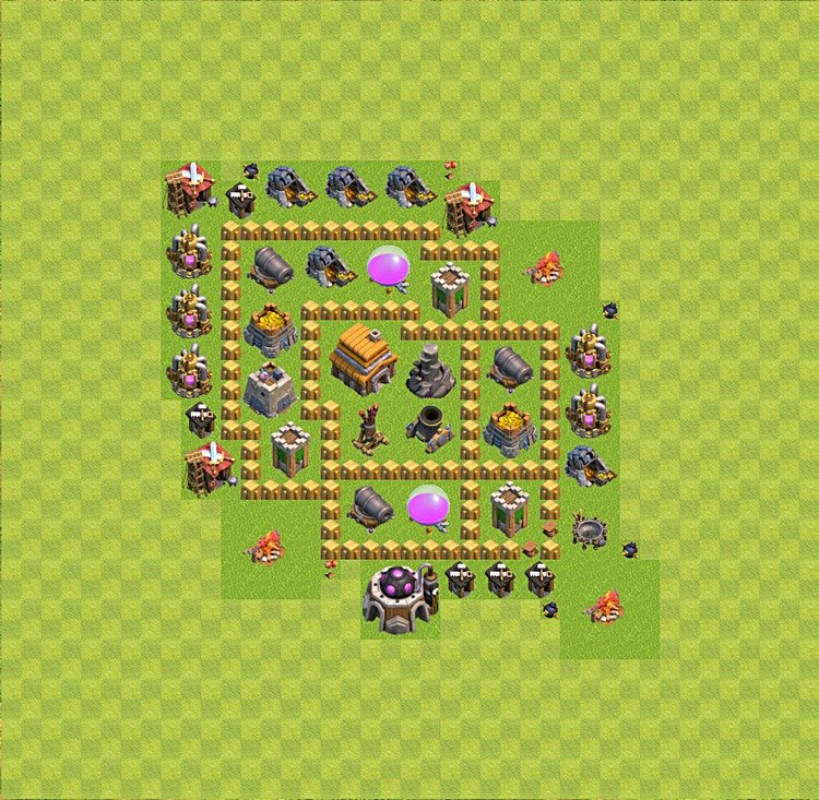 Base plan (layout) for trophies collecting TH  5 (Town Hall level 5, TH 5), variant 31