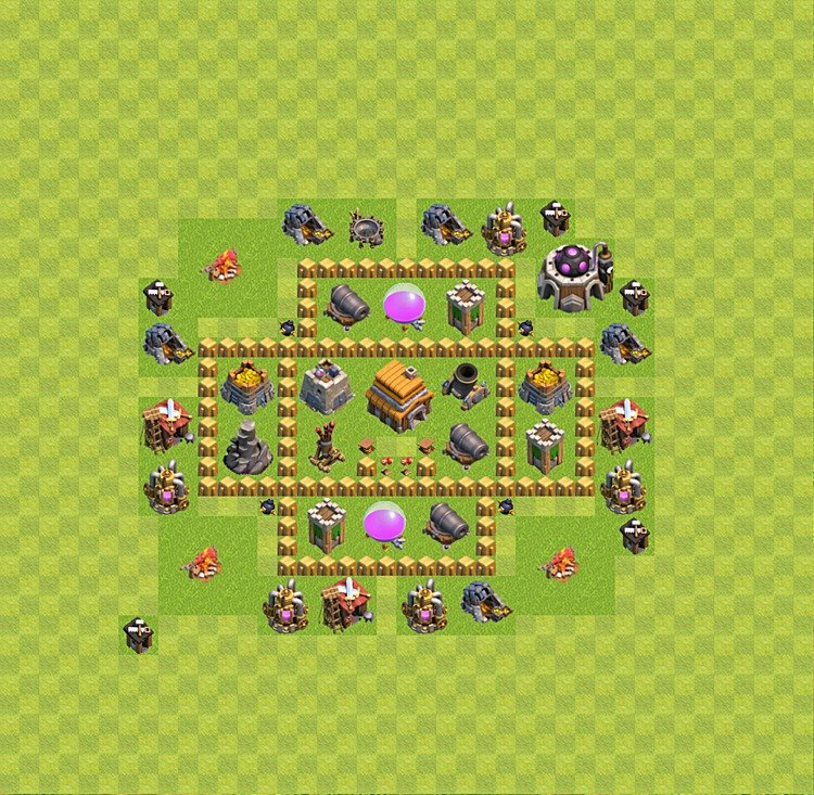 Base plan (layout) for trophies collecting TH  5 (Town Hall level 5, TH 5), variant 32