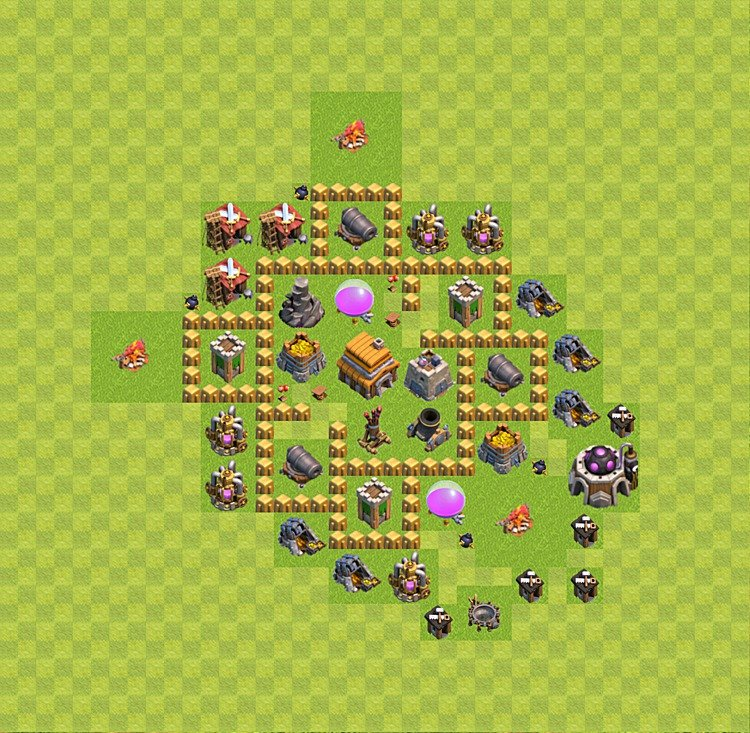 Base plan (layout) for trophies collecting TH  5 (Town Hall level 5, TH 5), variant 33