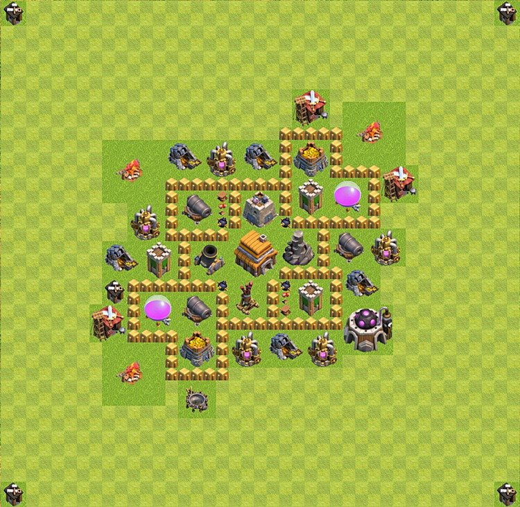 Base plan (layout) for trophies collecting TH  5 (Town Hall level 5, TH 5), variant 34