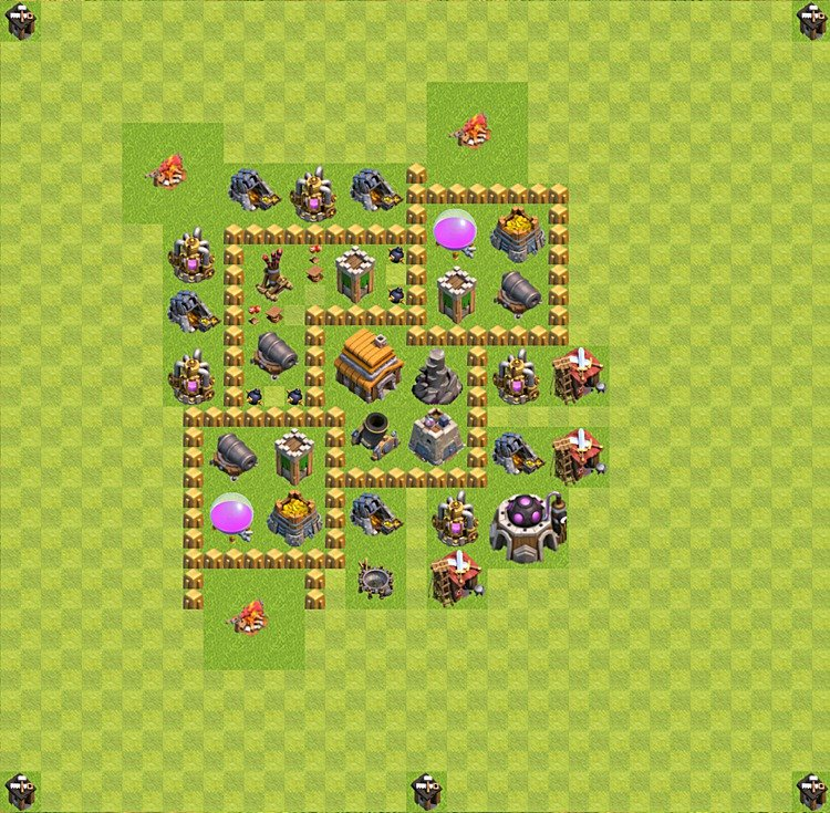 Base plan (layout) for trophies collecting TH  5 (Town Hall level 5, TH 5), variant 36