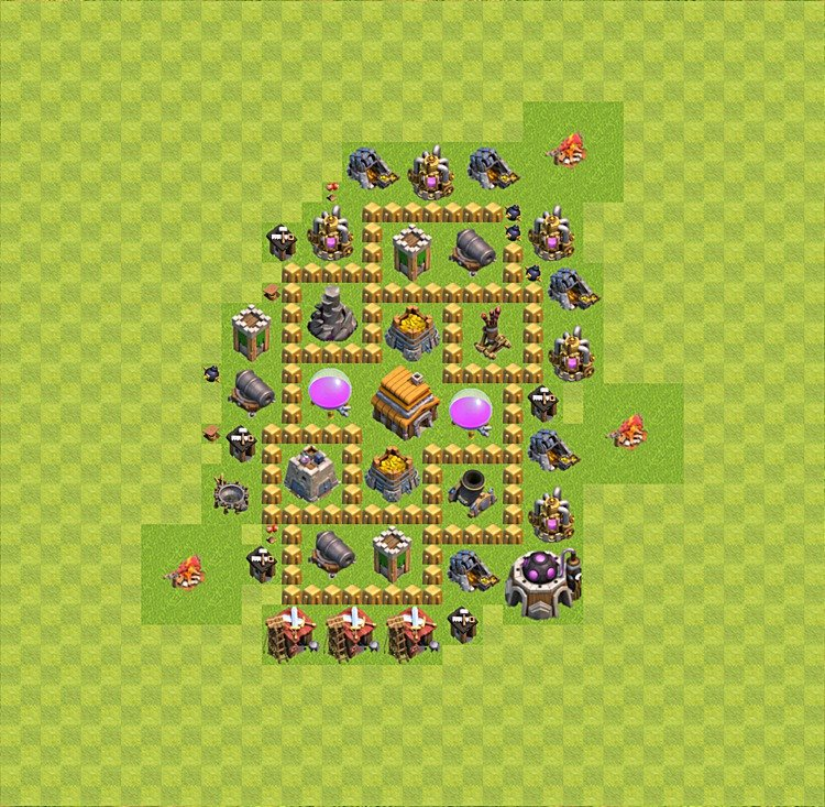 Base plan (layout) for trophies collecting TH  5 (Town Hall level 5, TH 5), variant 37