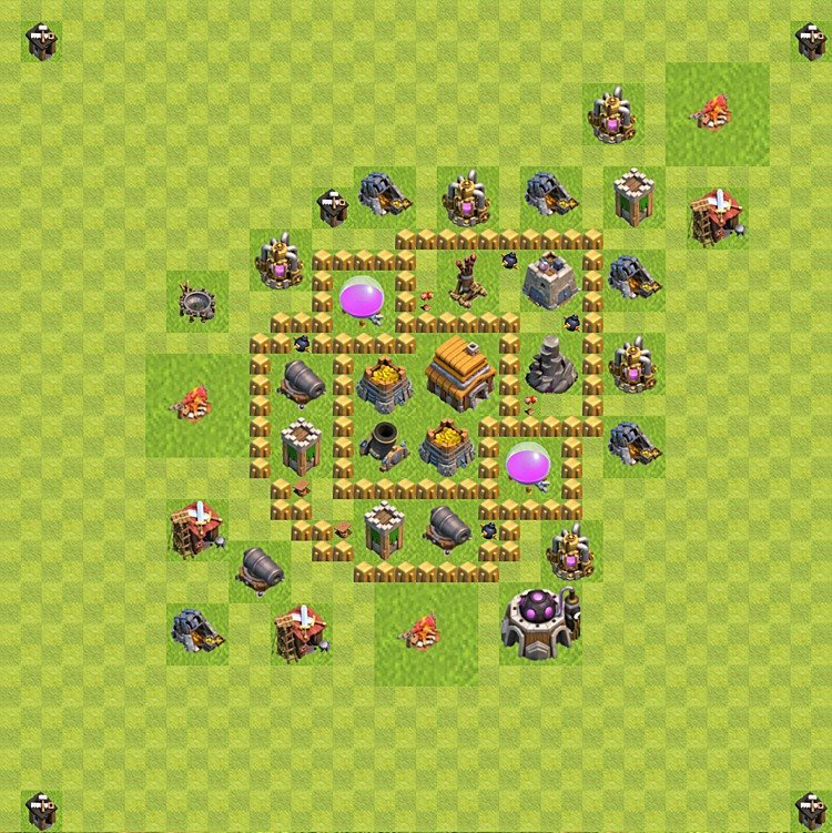 Base plan (layout) for trophies collecting TH  5 (Town Hall level 5, TH 5), variant 39