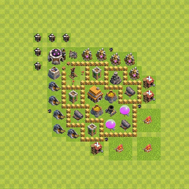 Base plan (layout) for trophies collecting TH  5 (Town Hall level 5, TH 5), variant 43