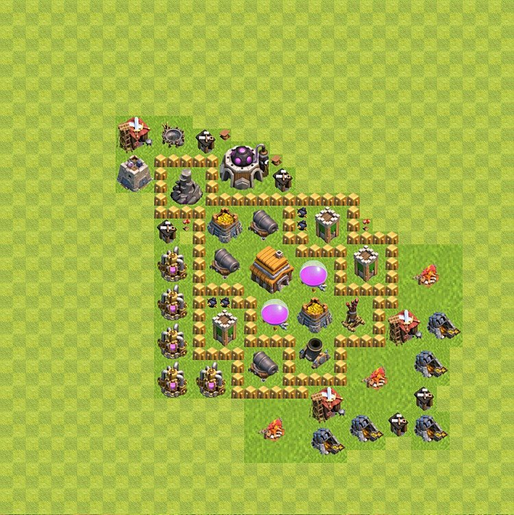 TH5 Trophy Base Plan, Town Hall 5 Base Design, #44