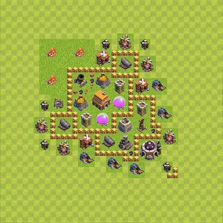 Base plan (layout) for trophies collecting TH  5 (Town Hall level 5, TH 5), variant 45