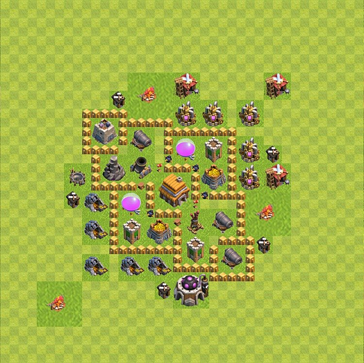 Base plan (layout) for trophies collecting TH  5 (Town Hall level 5, TH 5), variant 46