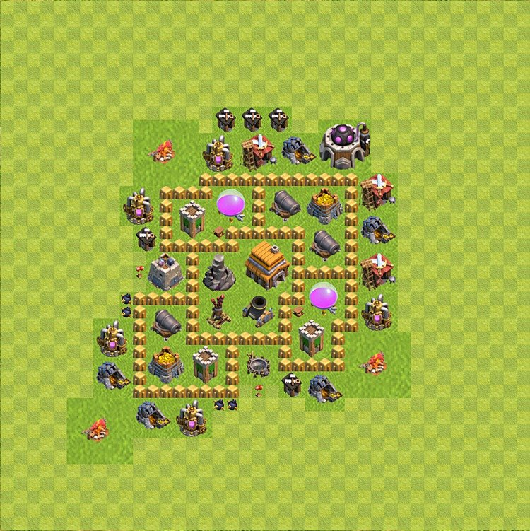 Base plan (layout) for trophies collecting TH  5 (Town Hall level 5, TH 5), variant 48