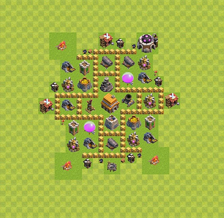 Base plan (layout) for trophies collecting TH  5 (Town Hall level 5, TH 5), variant 5