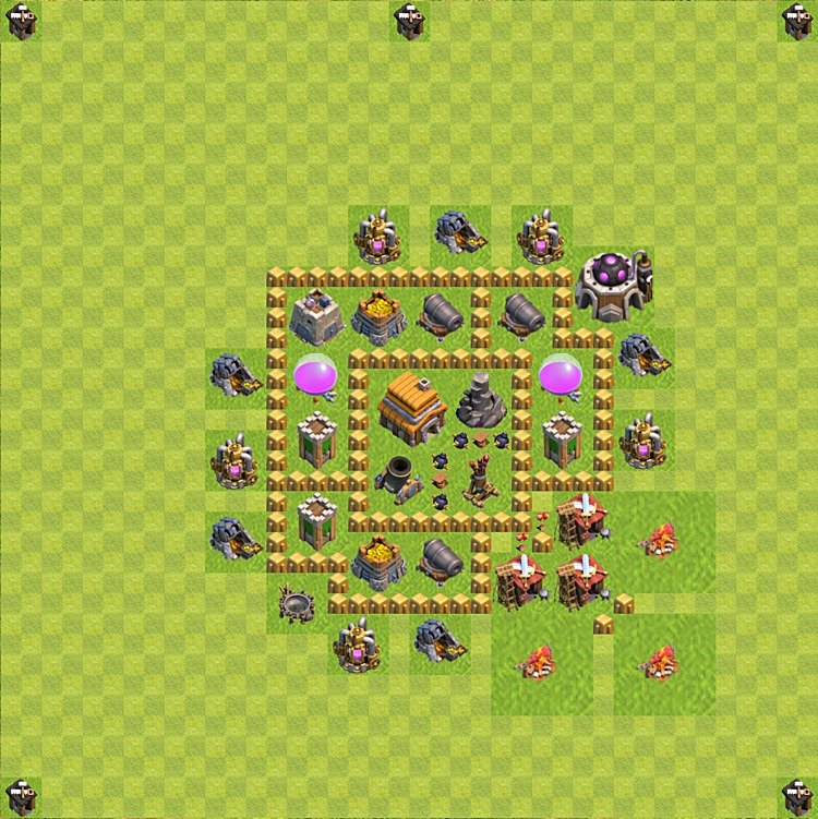 Base plan (layout) for trophies collecting TH  5 (Town Hall level 5, TH 5), variant 51