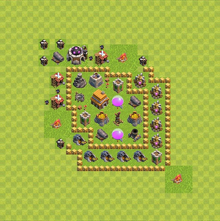 Base plan (layout) for trophies collecting TH  5 (Town Hall level 5, TH 5), variant 52