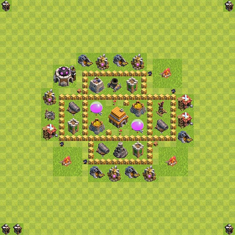Base plan (layout) for trophies collecting TH  5 (Town Hall level 5, TH 5), variant 53