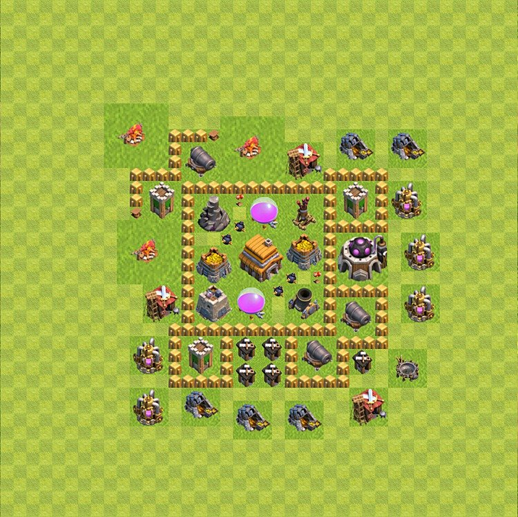 Base plan (layout) for trophies collecting TH  5 (Town Hall level 5, TH 5), variant 54