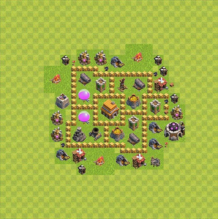 Base plan (layout) for trophies collecting TH  5 (Town Hall level 5, TH 5), variant 56