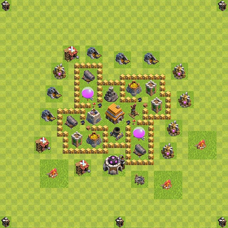 Base plan (layout) for trophies collecting TH  5 (Town Hall level 5, TH 5), variant 57