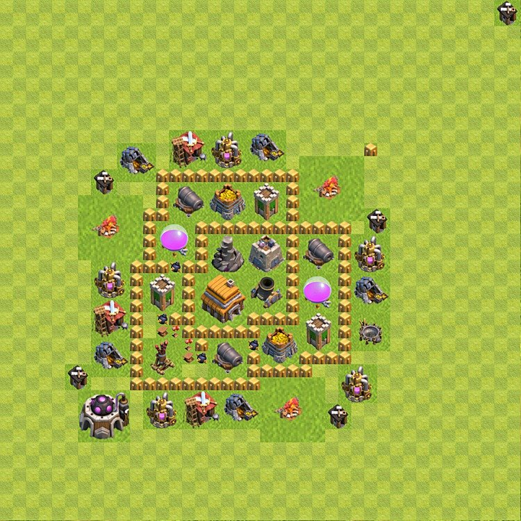 Base plan (layout) for trophies collecting TH  5 (Town Hall level 5, TH 5), variant 58