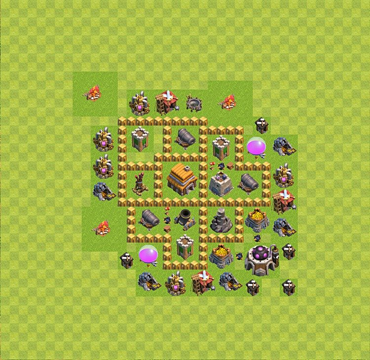 Base plan (layout) for trophies collecting TH  5 (Town Hall level 5, TH 5), variant 9