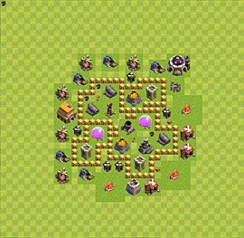 Base plan Town Hall level 5 for farming (variant 1)