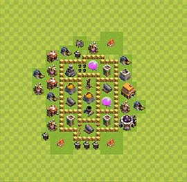 Base plan Town Hall level 5 for farming (variant 14)