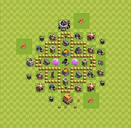 Base plan Town Hall level 5 for farming (variant 16)