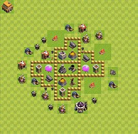Base plan Town Hall level 5 for farming (variant 2)