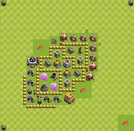 Base plan Town Hall level 5 for farming (variant 21)