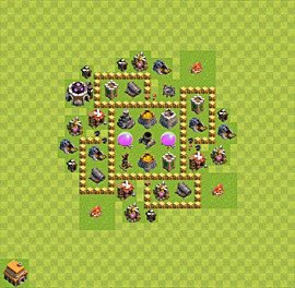 Base plan Town Hall level 5 for farming (variant 22)