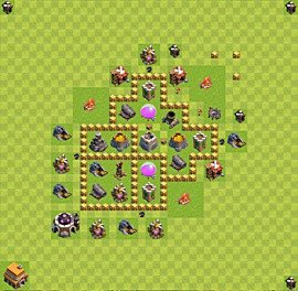 Base plan Town Hall level 5 for farming (variant 28)