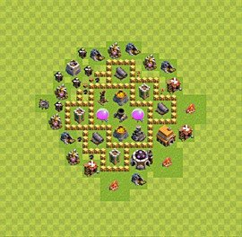Base plan Town Hall level 5 for farming (variant 33)