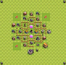 Base plan Town Hall level 5 for farming (variant 34)