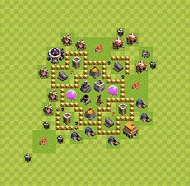 Base plan Town Hall level 5 for farming (variant 36)