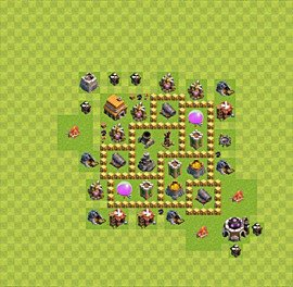 Base plan Town Hall level 5 for farming (variant 4)