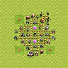 Base plan Town Hall level 5 for farming (variant 46)
