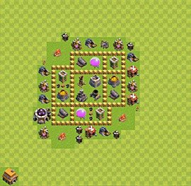 Base plan Town Hall level 5 for farming (variant 6)