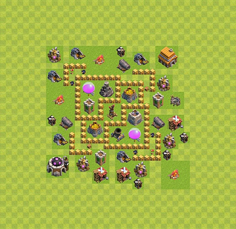 Base plan (layout) for farming TH 5 (Town Hall level 5), TH, th}), variant 25
