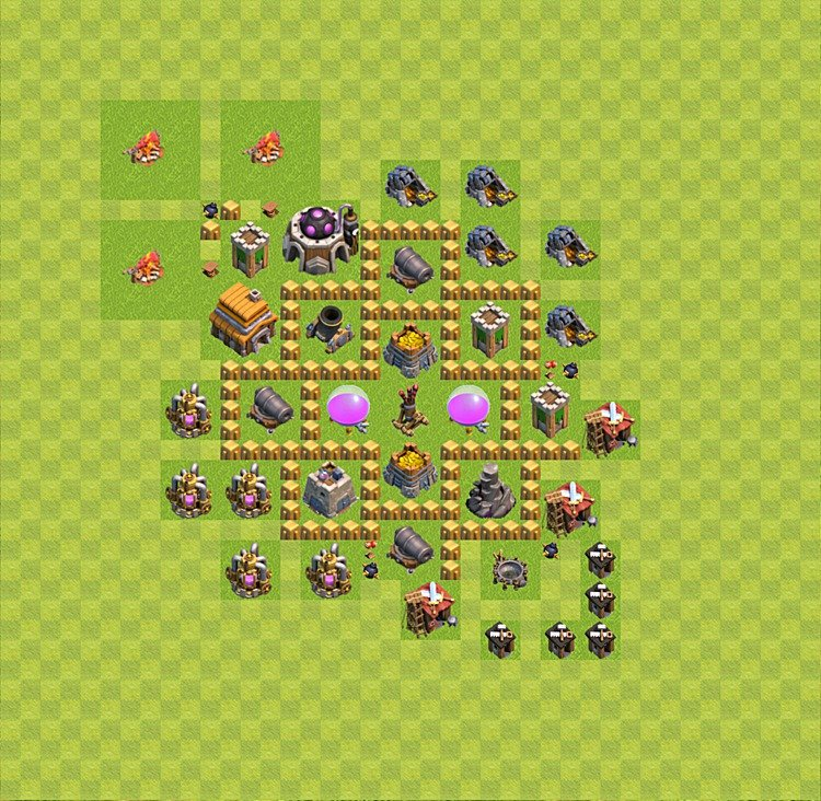 Base plan (layout) for farming TH 5 (Town Hall level 5), TH, th}), variant 27