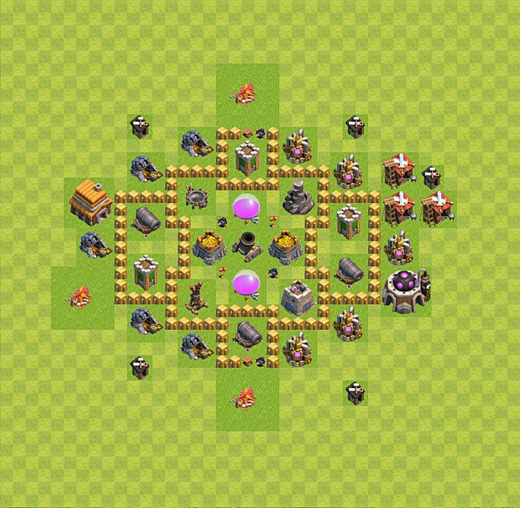 Base plan (layout) for farming TH 5 (Town Hall level 5), TH, th}), variant 29